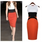BODCD-A384 Stylish Sleeveless Slim Knitted Cotton Midi Dress - White + Orange Red + Black (M)