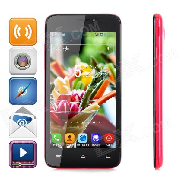 "JIAKE V3 Android 4.2.2 Quad-core WCDMA Bar Phone w/ 4.5"" Screen, GPS and Wi-Fi - Red + Black"