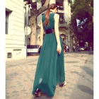 Fashionable Chiffon Maxi Tank Dress w/ Waist Band - Green