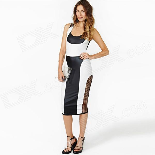 LC861626 Sexy Women's Mesh Dress - White + Black