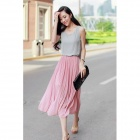 Stylish Chiffon One-piece Midi Tank Dress - Pink + Grey (M)