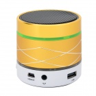 SK07 mini cilindro en forma de bluetooth V3.0 altavoz de música con luces de colores LED - amarillo