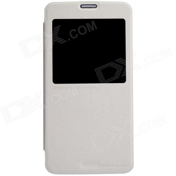 NILLKIN Protective PU Leather + PC Case Cover w/ Visual Window for Samsung Galaxy S5 - White чехол для samsung g900f g900fd galaxy s5 nillkin sparkle leather case белый