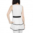 WS-2743 Ladies' Fashionable Double-layer Sleeveless Chiffon Top Clothes / Dress w/ Belt - White (L)