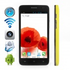 "CUBOT BOBBY Dual-Core Android 4.2 WCDMA Bar Phone w/ 5.0"", Wi-Fi, GPS and Dual-SIM - Yellowish Green"