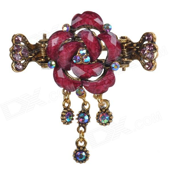 Rose Style Rhinestone Inlaid Zinc Alloy Hair Jaw Clip - Red Brown + Bronze