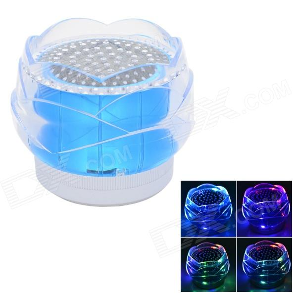 FL-01 Portable Mini Crystal Rose Style Bluetooth V2.0  2-CH Speaker w/ TF + LED Light - Blue (5V) t050 3w mini portable retractable stereo speaker w tf black golden 16gb max