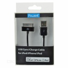 MFi Power4 30Pin M to USB 2.0 M Charging Cable for IPHONE - Black (1m)
