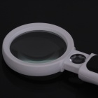 ZnDiy-BRY MG7B-3AB Retractable Soft Rubber Handle Magnifier w/ Two LED Lights-White + Black (4x/20x)