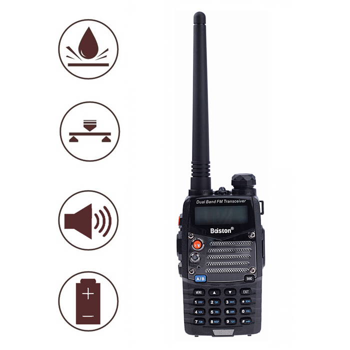 Baiston BST-558UV Waterproof Shockproof Dual-Band Dual-Display Dual-Standby Walkie Talkie - Black