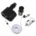 Cigarette Lighter + 1-to-2 Lighter Adapter + USB Car Charger + Micro USB Cable for Samsung / Xiaomi