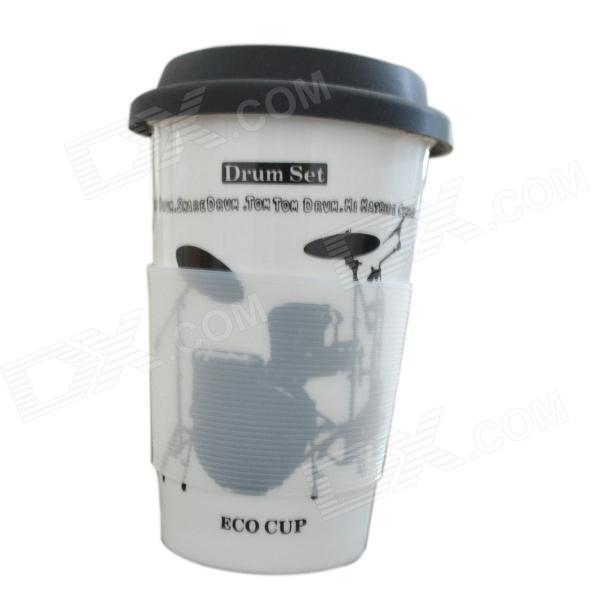 DEDO MG-397 Ceramic Coffee Mug with Lid - White + Black (400mL)