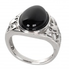 Fashionable Zinc Alloy + Agate Inlaid Ring - Black + Silver (U.S Size 7)