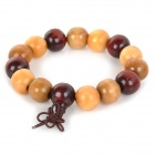 Fenlu STFZ009 Sandalwood Beaded Bracelet - Light Yellow + Vermilion
