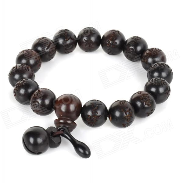 Fenlu ZMSL002 Fashionable Round Shaped Beads Jujube Wood Bracelet - Taupe