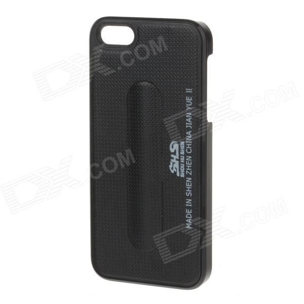 SHS Fashion Plastic Protective Case with Holder for IPHONE 5 / 5S - Black