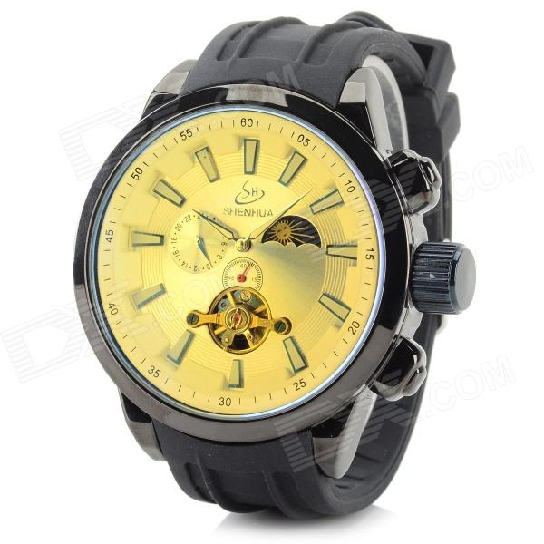 Shenhua 9396 Men's Fashionable Silicone Band Analog Mechanical Wristwatch - Black + Cream-colored