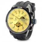 Shenhua Men's Fashionable Silicone Band Analog Mechanical Wristwatch - Black + Cream-colored