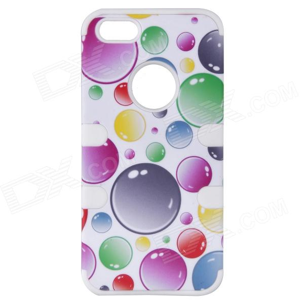 Colorful Bubble Pattern Protective Silicone Back Case Cover for IPHONE 5 / 5S - White + Blue protective silicone soft back case cover for iphone 5 white