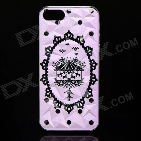 Whirligig Pattern Protective Plastic Back Case for IPHONE 5 / 5S - Translucent Pink + Black cartoon pattern matte protective abs back case for iphone 4 4s deep pink