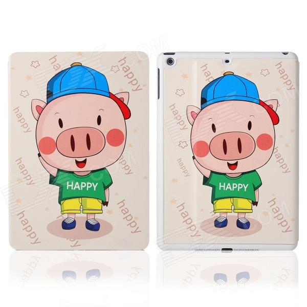 DF-008 Cartoon Pattern Protective PU Leather Case Cover Stand w/ Auto Sleep for IPAD AIR - Beige