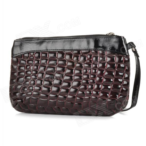 Women's Fashionable PU Zipper Opening Handbag - Red Brown