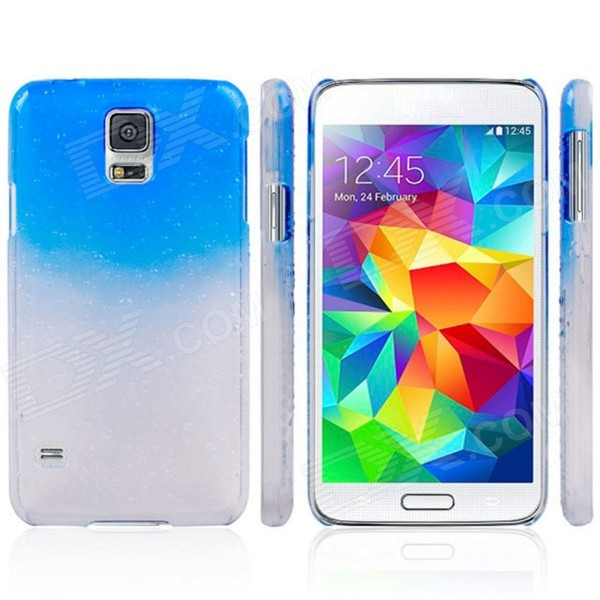 все цены на Water Drop Pattern Protective Plastic Back Case for Samsung Galaxy S5 - Transparent + Blue онлайн