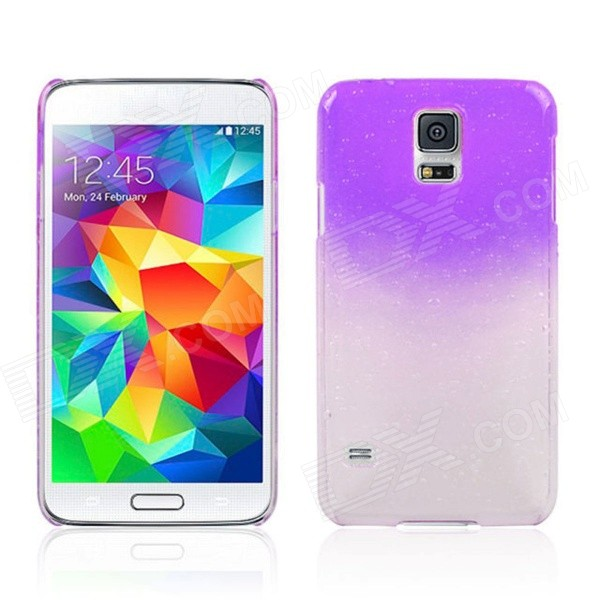 Water Drop Pattern Protective Plastic Back Case for Samsung Galaxy S5 - Transparent + Purple