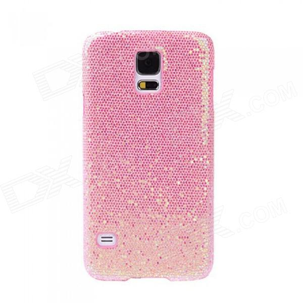 Fashionable Shimmering Powder Style Protective Plastic Back Case for Samsung Galaxy S5 - Pink cm001 3d skeleton pattern protective plastic back case for samsung galaxy s4