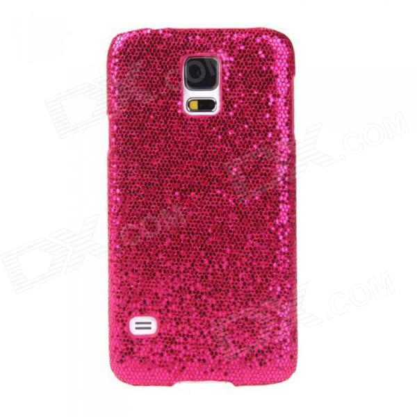 Fashionable Shimmering Powder Style Protective Plastic Back Case for Samsung Galaxy S5 - Deep Pink shimmering powder open mouth with tongue pattern plastic case for iphone 5 black red
