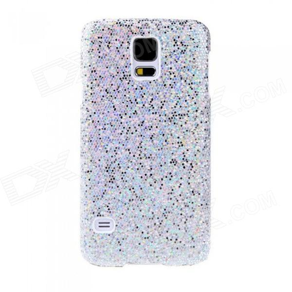 Fashionable Shimmering Powder Style Protective Plastic Back Case for Samsung Galaxy S5 - Silver cm001 3d skeleton pattern protective plastic back case for samsung galaxy s4