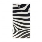 Kinston Zebra Pattern Plastic Hard Case for Sony L36h (Xperia Z) - White + Black