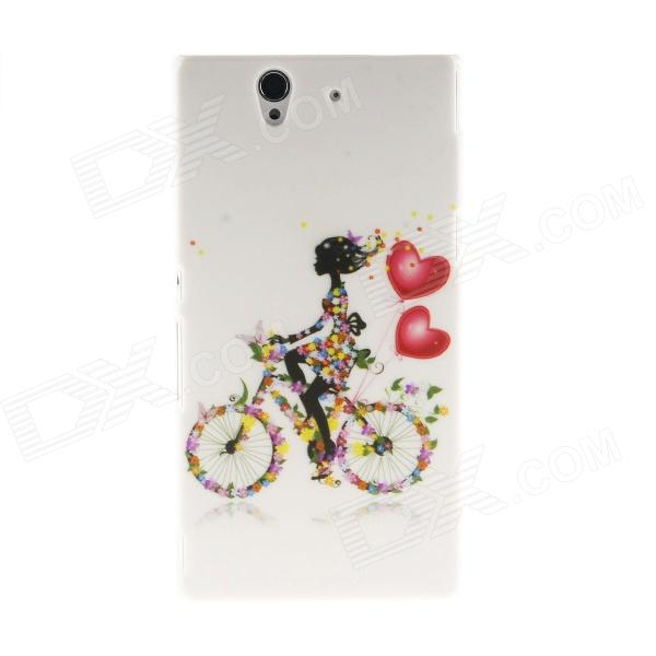 Kinston Bicycle Girl Pattern Plastic Hard Case for Sony L36h (Xperia Z) - White + Red kinston flowers