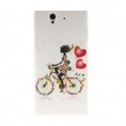 Kinston Bicycle Girl Pattern Plastic Hard Case for Sony L36h (Xperia Z) - White + Red
