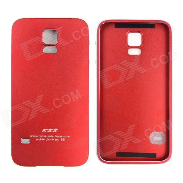 Protective Aluminum Alloy Back Case Frame Cover for Samsung Galaxy S5 - Red