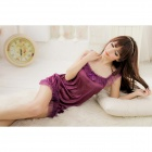 Sexy Luring See-though Chinlon Braces Lingerie Dress + Underpants Set - Purple