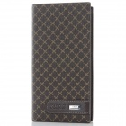 WG801-1 Men's Classic Grid Pattern Split Leather Wallet - Brown