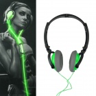 Power4 HP002 Hi-Fi Lighting Stereo Headband Headphone w/ Microphone / Remote - Green