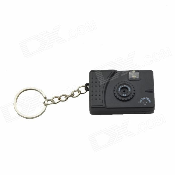 Digital Camera Design LED Keychain w/ Sound Effect - Black + Silver (3 x LR41) - DXLED Keychains<br>Press the shutter button and it&amp;#39;ll flash white LED light with sound efffect.<br>