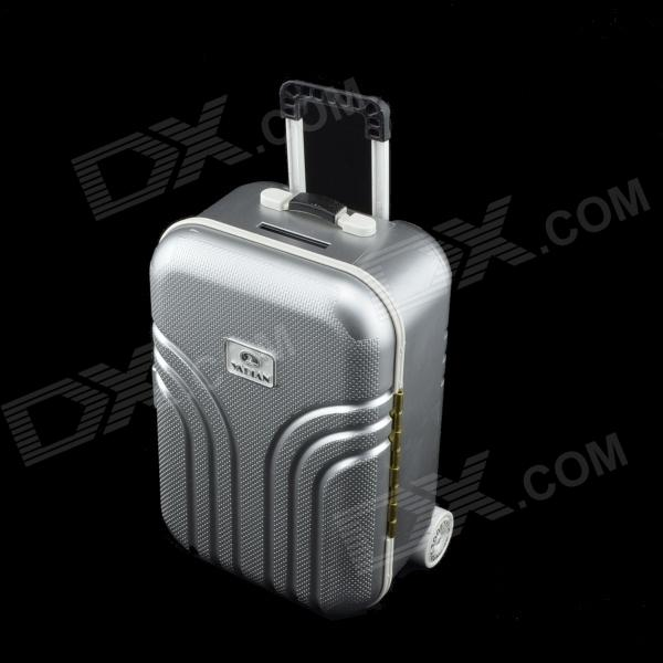 Suitcase Style Coin Bank - Silver + White