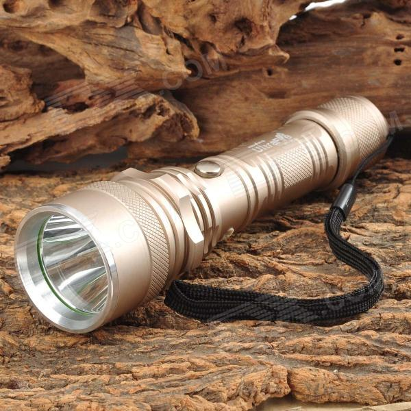 UltraFire HY-A64 LED 120lm 3-Mode Cool White Flashlight - Champagne Gold (1 x 18650)