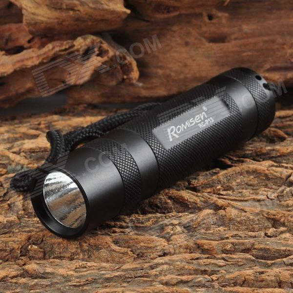 ROMISEN RC-P13 LED 140lm 5-Mode White Light Flashlight w/ Strap - Black (3 x AAA)