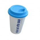 DEDO MG-394 Originality Ceramic Coffee Mug with Lid - White + Blue (400mL)