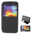 Ultrathin Protective PU + TPU Flip-Open Case w/ Stand / Display Window for Samsung Galaxy S5 - Black