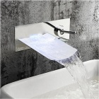 YDL-F-0570 Stylish Chrome Finish Waterfall Wall Mount Bathroom Sink Faucet - Silver
