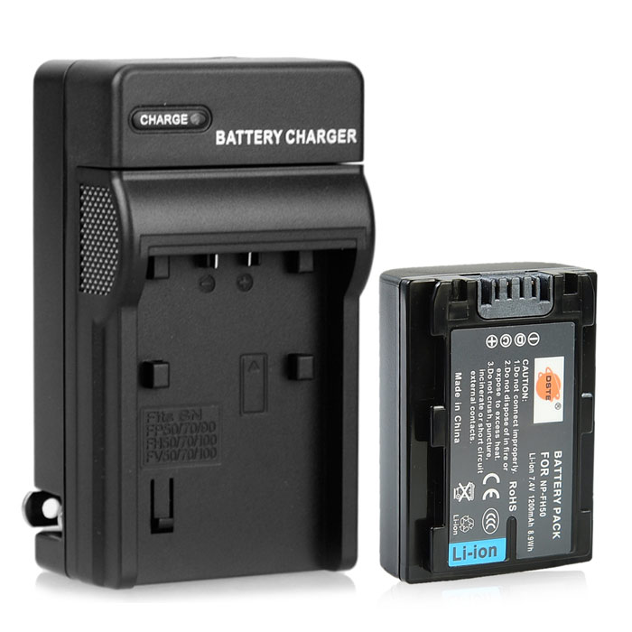 DSTE NP-FH50 Battery + US Plug Charger for Sony DSC-HX1, HX100, HX200, A390, A290, A330, A230 sony np bg1 battery