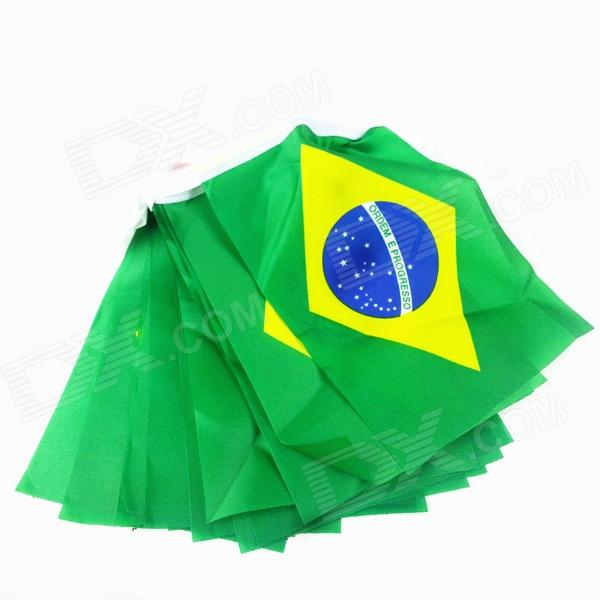 Brazilian World Cup String Flags - Green + Brown (20 PCS)