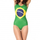Brazil Flag Pattern One-Piece Dacron Swimsuit for Women - Green + Yellow + Blue