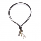 Zinc Alloy Eiffel Tower Style Necklace w/ Adjustable Cow Leather Chain - Brown + Silver
