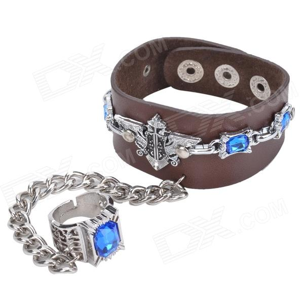 Double-Headed Eagle Seal Pattern Fashion Cow Leather Bracelet w/ Ring - Brown + Silver